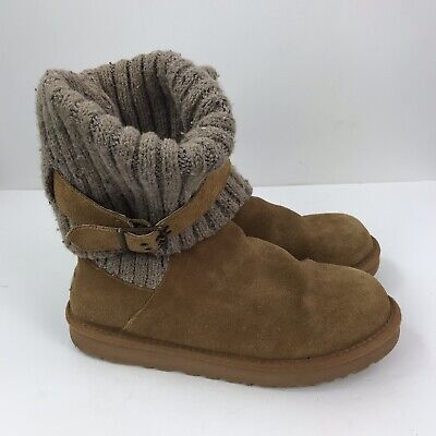 41cccc1e6f8 UGG CAMBRIDGE SZ 10 Sweater Cable Knit Fold Over Ankle Bootie ...