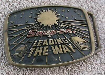 Vintage 1988 Snap On Tools Leading the Way Brass Mens Belt Buckle