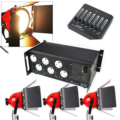 dmx dimmer with 3 x 800w redheads  tv studio lighting arri came fresnels