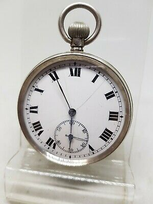 Antique solid silver gents pocket watch c1900 working/project ref561