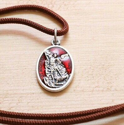 St Michael Archangel and Guardian Angel Pendant Brown Paracord Medal Necklace