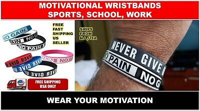 Motivational Silicone Wristbands Sports School Work No Pain No Gain Never Giveup