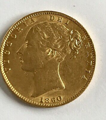 1860 Large O GOLD SOVEREIGN QUEEN VICTORIA YH SHIELD