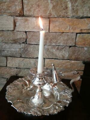 Rare Antique Old Sheffield Silver Plate Chamber Candle Plate & Snuffer.