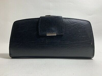 Black Textured Leather Vintage 1970s Coin Purse Wallet With Leather Lining