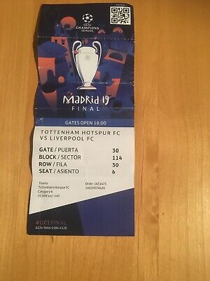 Tottenham Hotspur Spurs v Liverpool Champions League Final 2019 Used Ticket