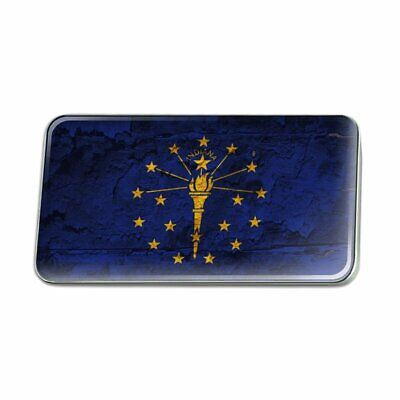 Rustic Indiana State Flag Distressed USA Rectangle Lapel Pin Tie Tack