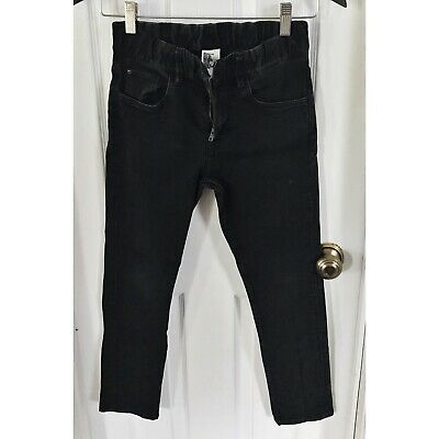 H&M Boys Jeans Size 9/10 Black Skinny Slim Adjustable Waist (F)