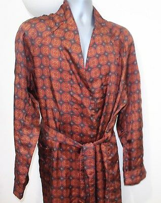 Vintage Mens Large St Michael Silky Dressing Gown Robe Red Blue Jacket Retro M&S