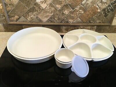 Tupperware 1665-1 Almond Condiment Tray Dipping Bowl 1666-1 Almond Seal EUC