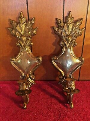 Pair of Antique Wall Hanging Solid BRASS Candle Holders/Sconces NICE & Heavy VTG