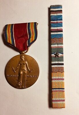 WWII US MILITARY MEDAL PIN and UNIFORM RIBBON BAR