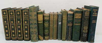 Lot of 15 Antique/Collectible Volumes Leather Gilt Spines & Pages Most Travel