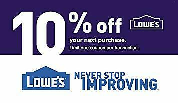 (x3) lowes 10% discount coupns(3) printable 30/06/19