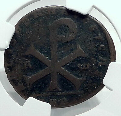 MAGNENTIUS 353AD Authentic Ancient Roman Coin Chi-Rho Christ Monogram NGC i78514