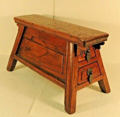 Estate Antique Miniature Chinese Bench with Two Drawers