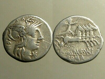 ABURIA 1 SILVER DENARIUS_____Roman Republic_____TWIN BROTHERS BOTH MINTED COINS