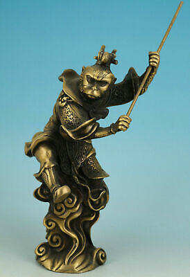 Chinese Buddhism Old Bronze Carved Handwork Collect Buddha Monkey King Statue