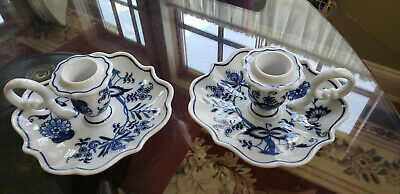 PAIR of BLUE DANUBE PORCELAIN CHAMBERSTICK CANDLE HOLDERS ~ MINT