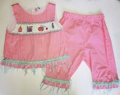 e7aebe8f6 BANANA SPLIT GIRLS Smocked School crayon two piece set red gingham ...