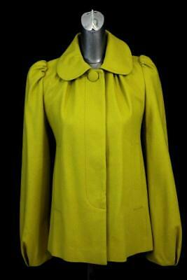 fe78f41a42c7 womens mustard yellow FRENCH CONNECTION blazer jacket retro mod wool modern  S 6