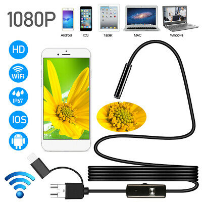 3.5M Wireless Endoscope WiFi Borescope Inspection 1200P Camera Waterproof CA