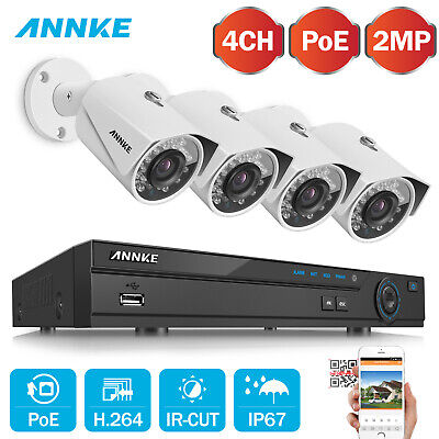 Refurbished 2MP 4CH NVR Video 4pcs 1080P Lite Security Camera System POE Network