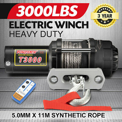 【15% OFF】12V Electric Winch Wireless 3000LBS / 1360KG Synthetic Rope w/Remote