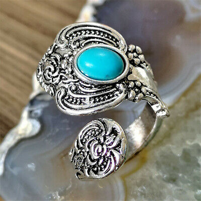 Silver Turquoise Open Ring Unique Antique Women Jewelry Vintage Adjustable