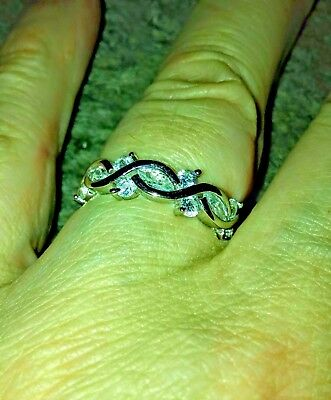 Sterling Silver Eternity Marquise Round Clear CZ Ring size 7