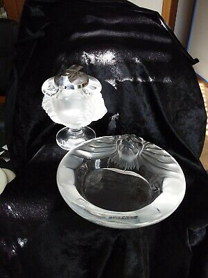 Lalique Lions Head Frosted Glass Cigarette Lighter And Ashtray Set In Excellent