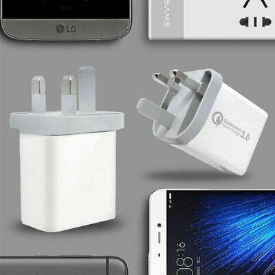 3Port 30W Fast Qualcomm Quick Charge QC 3.0 USB Hub Wall UK Plug Charger Adapter