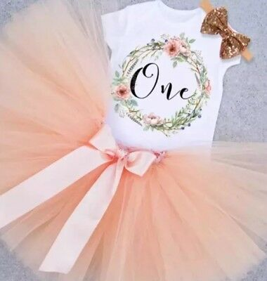 Baby Girls 1st First Birthday Outfit Cake Smash Tutu Skirt Top Headband Peach