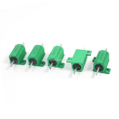 H● 5 Pcs Green 25W 75Ohm Chassis Mounted Aluminum Housed Clad Resistor