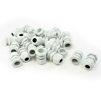 H● 30Pcs PG11 White Plastic Waterproof Cable Gland Joint Connector IP67