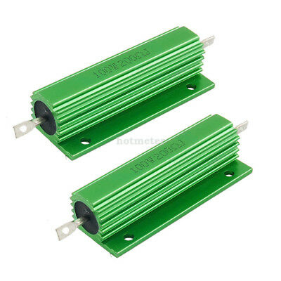 H● 2Pcs 100 W 200 Ohm Green Aluminum Housed Wirewound Resistor