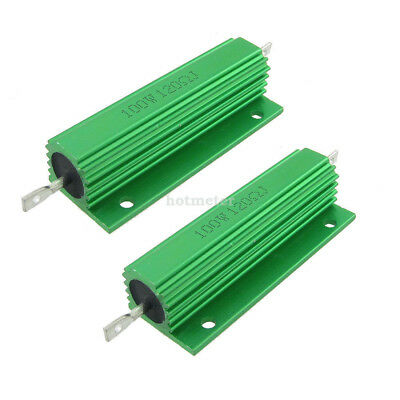 H● 2Pcs Green Aluminum Housed Wirewound Resistors 100W 120 Ohm