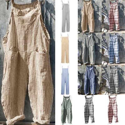 Womens Striped Loose Linen Cotton Jumpsuit Dungarees Playsuit Trousers Overalls