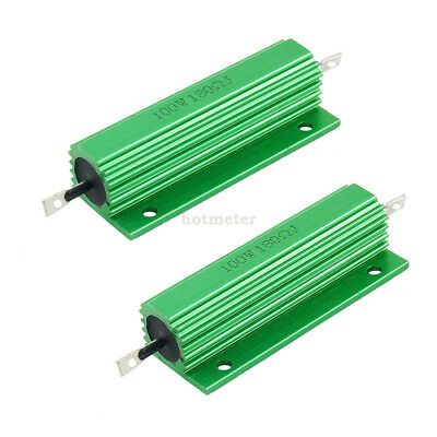 H● 2Pcs 100W 180 Ohm Green Aluminum Housed Wirewound Resistors