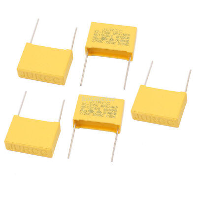 H● 5 Pcs X2-105K Safety Capacitor Polyester Film 310VAC Metal Leads