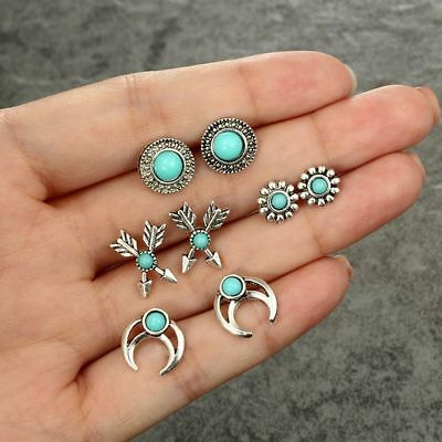 4Pairs/Lot Women Ear Stud Bohemian Small Stud Earrings Set Party Jewelry Gift