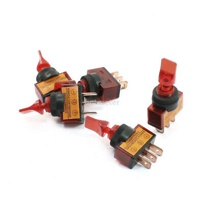 H● 5 Pcs ASW-14D 12V 20A Red Indicator 3Pin SPST On/Off Car Toggle Switch