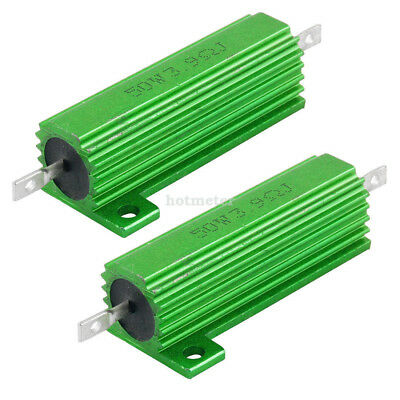 H● 2 Pcs 50W 3.9Ohm Screw Tap Mounted Aluminum Housed Wirewound Resistors