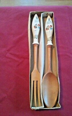 "Salad Serving Fork & Spoon Set ""Kissing Don't Last Cookin Do"" Tulips Nevada"
