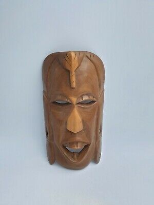 African Tribal Art Wooden Hand Carved Decorative Face Mask Wall Hanging