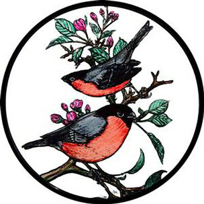 Stained Glass Window Art - Static Cling  Decoration - Bullfinches
