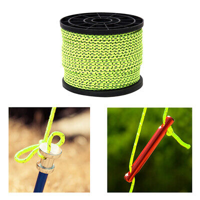 4mm Reflective Camping Awning Cord Paracord Tent Reel Roll Guy Rope Line,50m