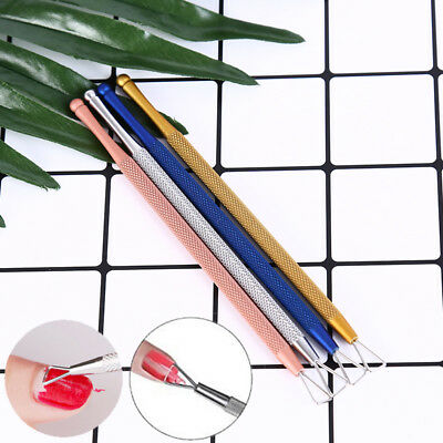 Stainless Steel UV Gel Polish Remover Triangle Stick Rod Pusher Nail Art Tool ES