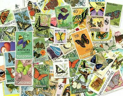 50 Different Butterflies & Moths on Stamps / Thematics - STOCK PICTURE
