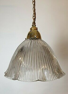 C1910 Holophane Ceiling Light With Original Brass Gallery, Rewired